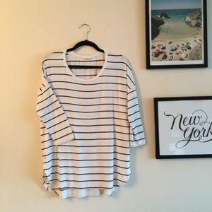 Club Monaco 3/4 Sleeve T Shirt: White Stripes